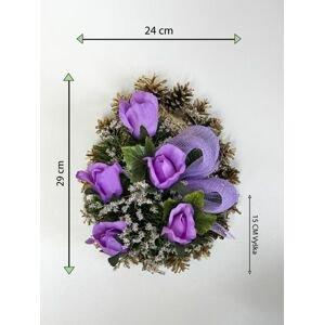 Smuteční květina ve tvaru srdce, střední, fialová