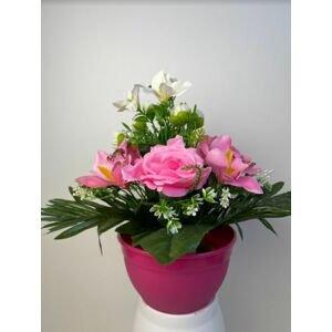 Dekorativní miska s umělou růží a orchidejí, světle růžová