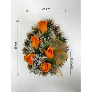Smuteční květina ve tvaru srdce, střední, oranžová