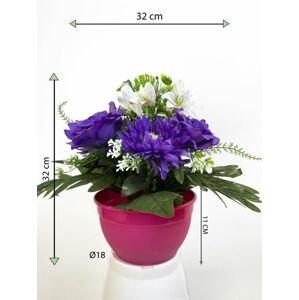 Dekorativní miska s umělou chryzantémou a růží, modrá, 32 cm