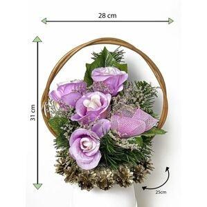 Velký květinový koš, fialový