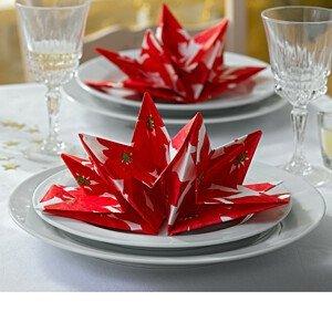 """Magnet 3Pagen 8 složených ubrousků """"Vánoční hvězdy"""" červená"""