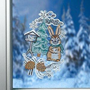"""Magnet 3Pagen Textiln dekorace na okno """"Zajíc v zimě"""""""