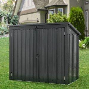 Kovový box na popelnice Genk 1,6m šedý s 2 uzamykatelnými dvířky