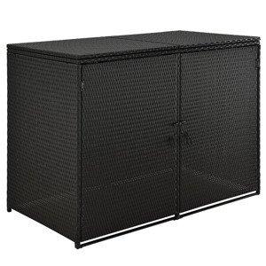 Box Mol 1, 2m na odpadní nádobu, Černá, z Polyratanu ze 2 dveří