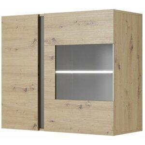 Závěsná vitrína ARDEN 96 LED, dub artisan/grafit