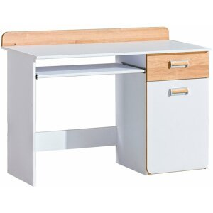 Pc stůl LUCAS 10, dub/bílá