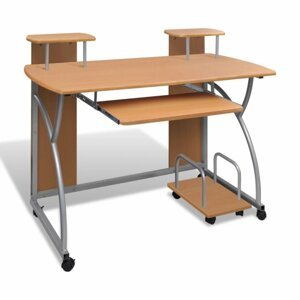 Počítačový stůl DTD / kov Dekorhome Hnědá