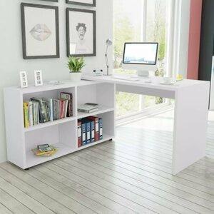 PC stůl s regálem dřevotříska Dekorhome Bílá