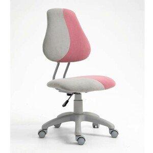 Dětská rostoucí židle RAIDON látka Tempo Kondela Šedá / růžová