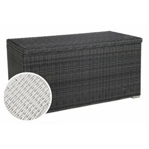 Zahradní úložný box polyratan 1037L Bílá