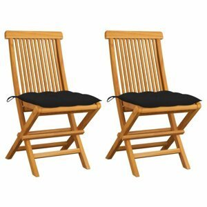 Skládací zahradní židle s poduškami 2 ks teak Dekorhome Černá