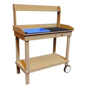 Zahradní pracovní stůl BARDY dřevo Tempo Kondela Hnědá