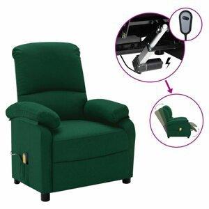 Elektrické masážní polohovací křeslo látka Dekorhome Tmavě zelená