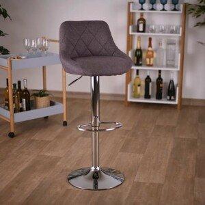 Barová židle MARID hnědá látka / chrom Tempo Kondela