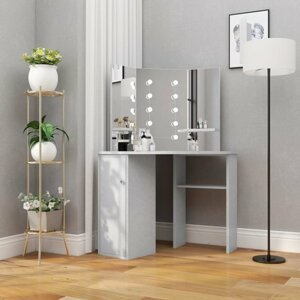 Rohový toaletní stolek s LED Dekorhome Světle šedá