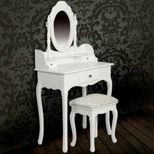 Toaletní stolek s taburetem bílá Dekorhome