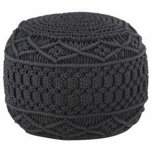 Ručně pletený taburet Dekorhome Antracit