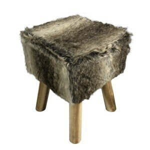 Kožešinový taburet NAFULA hnědá Tempo Kondela