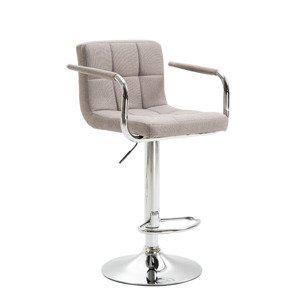 Barová židle LEORA 2 NEW šedohnědá taupe látka / chrom Tempo Kondela