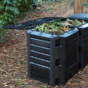 Zahradní kompostér 1200l černý Dekorhome