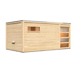 Venkovní finská sauna s předsíní 508 x 276 cm Dekorhome Smrk