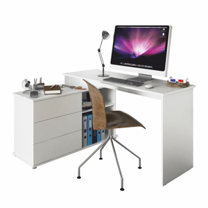 Rohový PC stůl TERINO Tempo Kondela Bílá