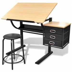 Náklopný kreslicí stůl s židlí a zásuvkami Dekorhome