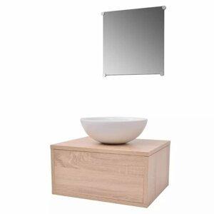 Koupelnový set 3 ks Dekorhome Přírodní dřevo