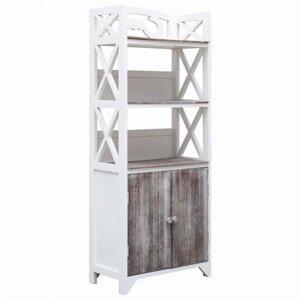Koupelnová skříňka dřevo Dekorhome Bílá / hnědá
