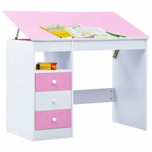 Dětský psací stůl náklopný Dekorhome Růžová