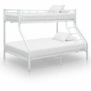 Patrová postel kov Dekorhome Bílá