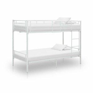 Patrová postel 90x200 cm kov Dekorhome Bílá