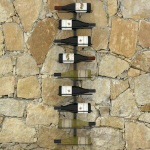 Nástěnný stojan na víno na 9 lahví černá Dekorhome