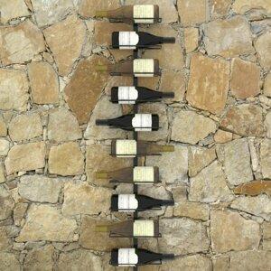 Nástěnný stojan na víno na 10 lahví černá Dekorhome