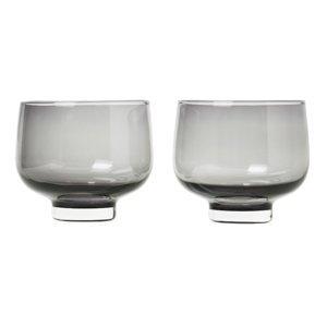 Blomus Set 2 skleniček FLOW kouřové sklo 0,22 l