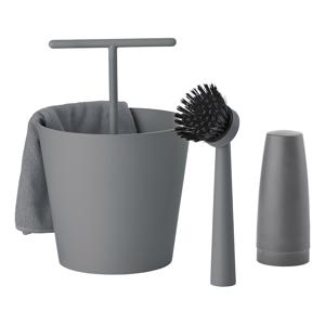 ZONE Sada na mytí nádobí cool grey BUCKET 4 kusy