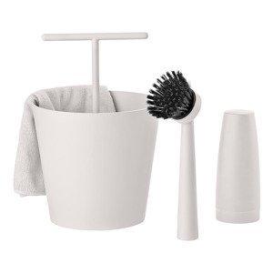 ZONE Sada na mytí nádobí warm grey BUCKET 4 kusy