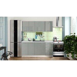Rovná kuchyně emilia lux 180 cm (šedá lesk)