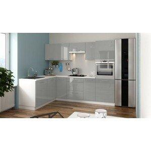 Rohová rohová kuchyně emilia lux levý roh 260x180 cm (šedá lesk)