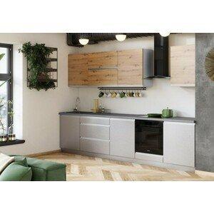 Rovná kuchyně metalica 320 cm (šedá, dub)