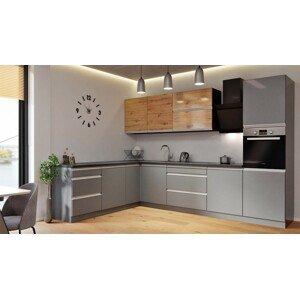 Rohová rohová kuchyně metalica levý roh 320x220 cm (šedá, dub)