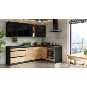 Rohová rohová kuchyně brick pravý roh 240x160 cm (černá/dub craft)