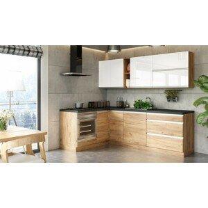 Rohová rohová kuchyně brick light levý roh 240x160 cm (bílá/dub craft)