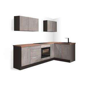 Rohová kuchyně Ute levý roh 250x150 cm (světlý beton) HENRY STYLE