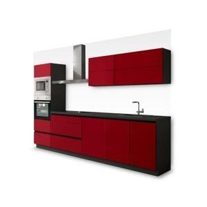 Kuchyně Eugenie 300 cm (červená, vysoký lesk, šedá, lak) HENRY STYLE