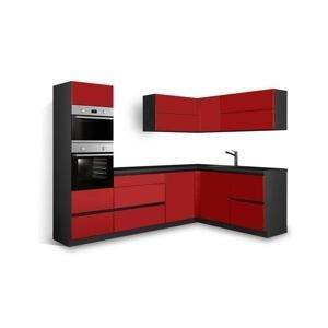 Rohová kuchyně Eugenie levý roh 275x185(červená,vysoký lesk,lak) HENRY STYLE