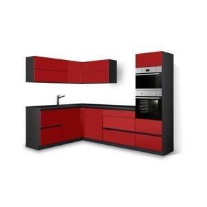 Rohová kuchyně Eugenie pravý roh 275x185 červená,vysoký lesk,lak HENRY STYLE