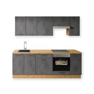 Kuchyně Birgit 240 cm (tmavý beton, dub) HENRY STYLE