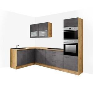 Rohová kuchyně Birgit pravý roh 275x155 cm (tmavý beton, dub) HENRY STYLE